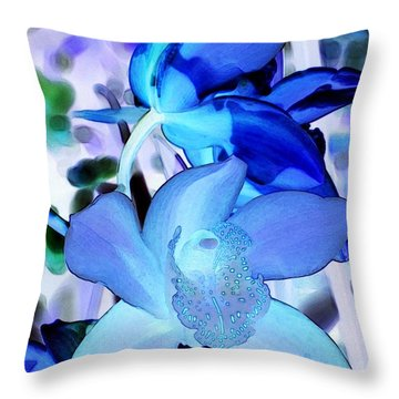 Blue Orchids Throw Pillow by Kathleen Struckle