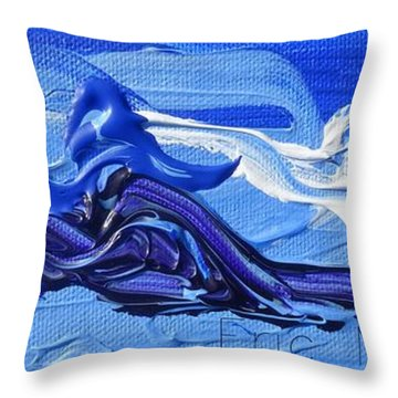 Blue Purple  Abstract Throw Pillow by Eric  Schiabor
