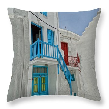 Blue Railing With Stairway In Mykonos Greece Throw Pillow by M Bleichner