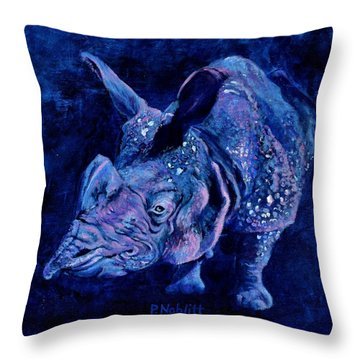 Indian Rhino - Blue Throw Pillow by Paula Noblitt