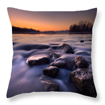 Blue River Throw Pillow by Davorin Mance