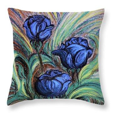Blue Roses Throw Pillow by Jasna Dragun