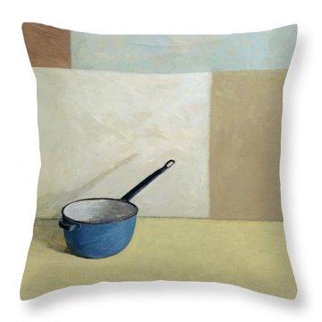 Blue Saucepan Throw Pillow by William Packer