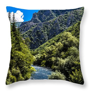 Blue Sky Throw Pillow by Sotiris Filippou