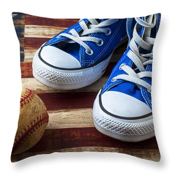 Blue Tennis Shoes And Baseball Throw Pillow by Garry Gay