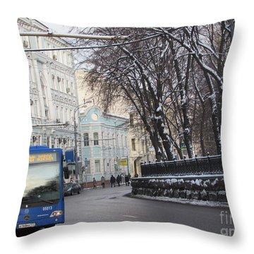 Blue Trolleybus Throw Pillow by Anna Yurasovsky