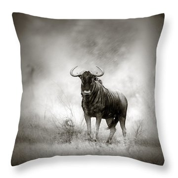 Blue Wildebeest In Rainstorm Throw Pillow by Johan Swanepoel