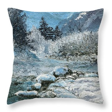 Blue Winter Throw Pillow by Mary Ellen Anderson