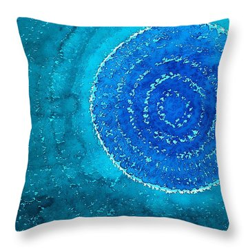 Blue World Original Painting Throw Pillow by Sol Luckman