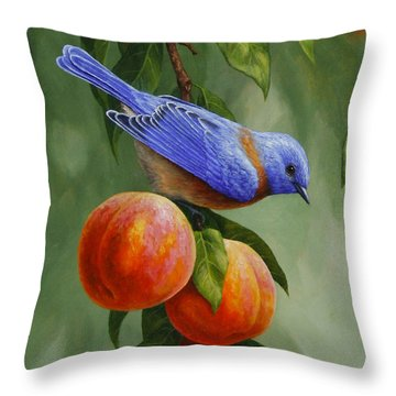 Bluebird And Peaches Greeting Card 1 Throw Pillow by Crista Forest