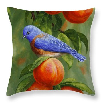 Bluebird And Peaches Greeting Card 2 Throw Pillow by Crista Forest