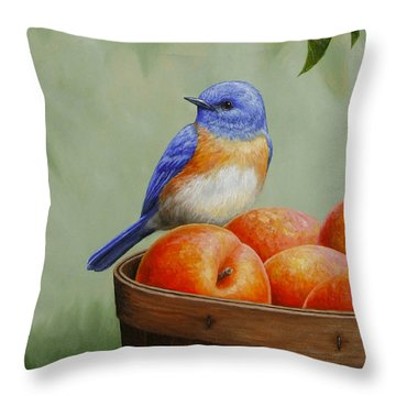 Bluebird And Peaches Greeting Card 3 Throw Pillow by Crista Forest