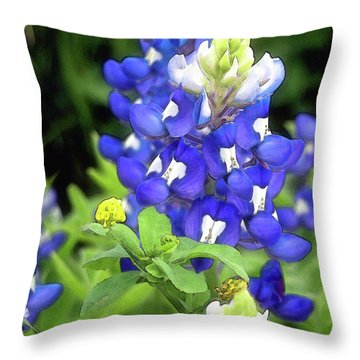 Bluebonnets Blooming Throw Pillow by Stephen Anderson