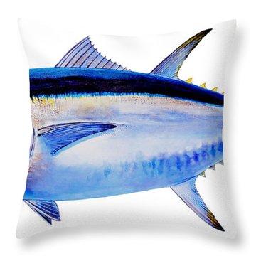 Bluefin Tuna Throw Pillow by Carey Chen