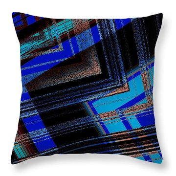Bluish Geometric Design Throw Pillow by Mario Perez