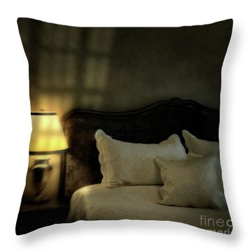 Blurry Image Of A Vintage Looking Bedroom Throw Pillow by Sandra Cunningham