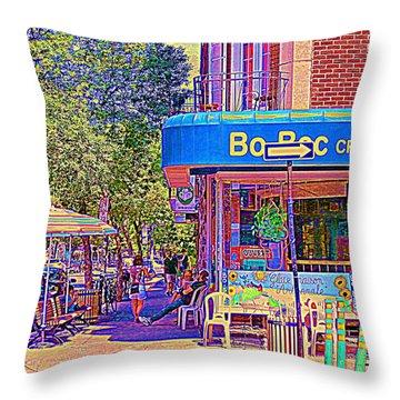 Bo Bec Creme Glacee Ice Cream Shop Laurier Montreal Springtime Cafe Scene By Carole Spandau Throw Pillow by Carole Spandau