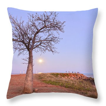 Boab Tree And Moonrise At Broome Western Australia Throw Pillow by Colin and Linda McKie