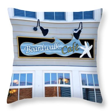 Boardwalk Cafe Throw Pillow by Lanjee Chee
