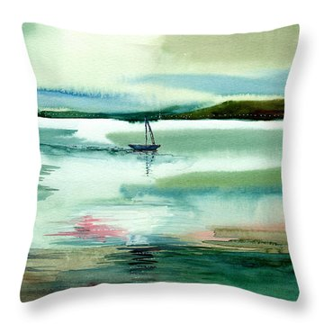 Boat N Creek Throw Pillow by Anil Nene