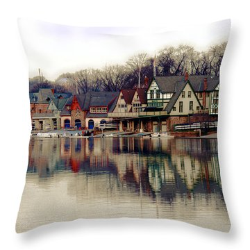 Boathouse Row Philadelphia Throw Pillow by Tom Gari Gallery-Three-Photography