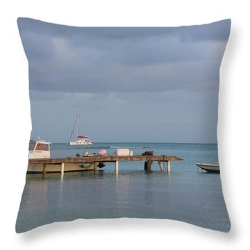 Boats At Rest Throw Pillow by Eric Glaser