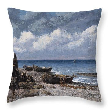 Boats At St Aubain Throw Pillow by Gustave Courbet
