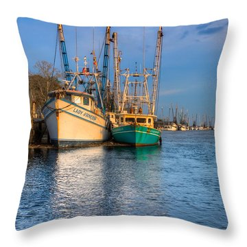 Boats In Blue Throw Pillow by Debra and Dave Vanderlaan
