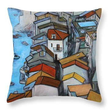 Boats In Front Of The Buildings Iv Throw Pillow by Xueling Zou