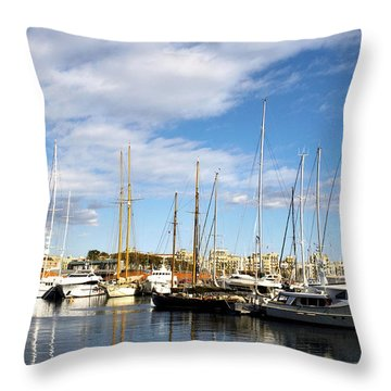Boats In Port Vell Throw Pillow by Fabrizio Troiani