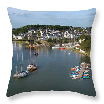 Boats In The Sea, Le Bono, Gulf Of Throw Pillow by Panoramic Images