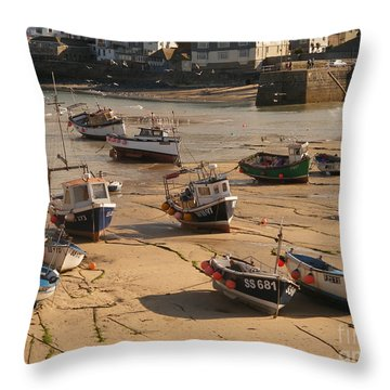 Boats On Beach 03 Throw Pillow by Pixel Chimp