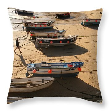 Boats On Beach Throw Pillow by Pixel  Chimp