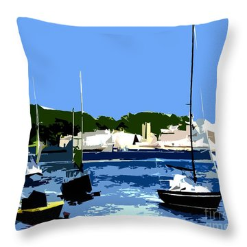 Boats On Strangford Lough Throw Pillow by Patrick J Murphy