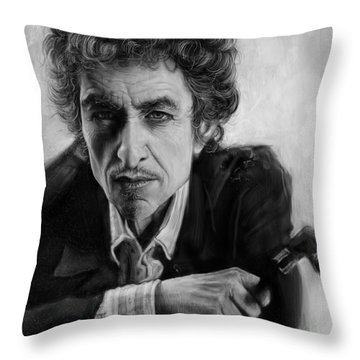 Bob Dylan Throw Pillow by Andre Koekemoer