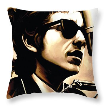 Bob Dylan Artwork 3 Throw Pillow by Sheraz A