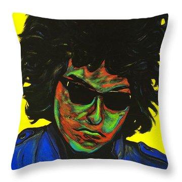 Bob Dylan Throw Pillow by Edward Pebworth