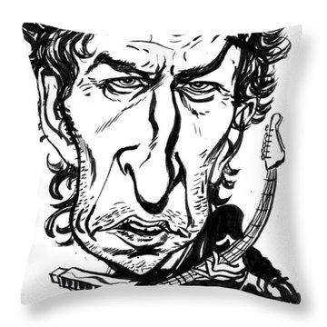 Bob Dylan Throw Pillow by John Ashton Golden