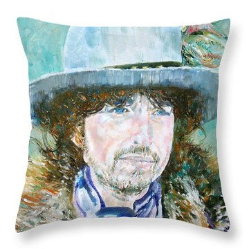 Bob Dylan Oil Portrait Throw Pillow by Fabrizio Cassetta