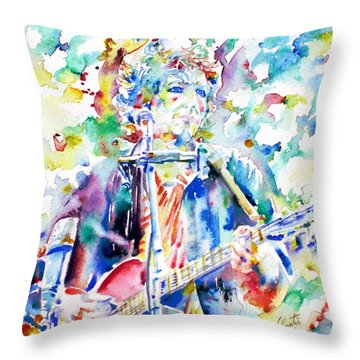 Bob Dylan Playing The Guitar - Watercolor Portrait.1 Throw Pillow by Fabrizio Cassetta