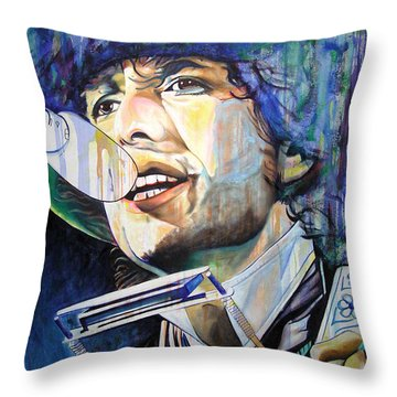 Bob Dylan Tangled Up In Blue Throw Pillow by Joshua Morton