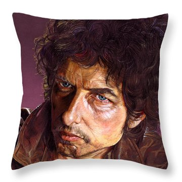 Bob Dylan Throw Pillow by Tim  Scoggins