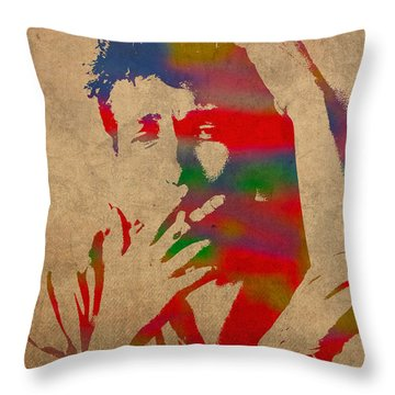 Bob Dylan Watercolor Portrait On Worn Distressed Canvas Throw Pillow by Design Turnpike