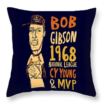 Bob Gibson St Louis Cardinals Throw Pillow by Jay Perkins