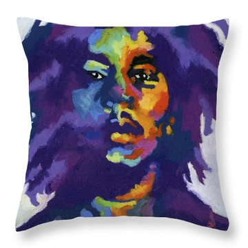 Bob Marley Throw Pillow by Stephen Anderson