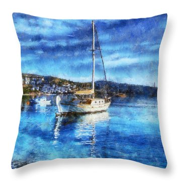 Bodrum Bay In Turkey Throw Pillow by Lilia D