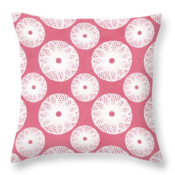 Boho Floral Pattern In Pink And White Throw Pillow by Linda Woods