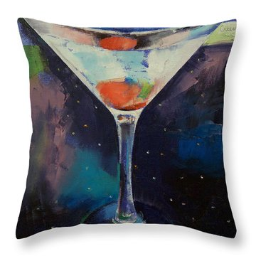 Bombay Sapphire Martini Throw Pillow by Michael Creese