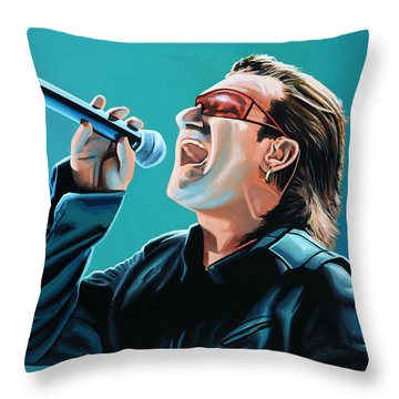 Bono Of U2 Painting Throw Pillow by Paul Meijering