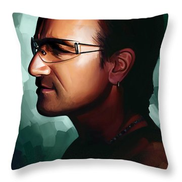Bono U2 Artwork 1 Throw Pillow by Sheraz A